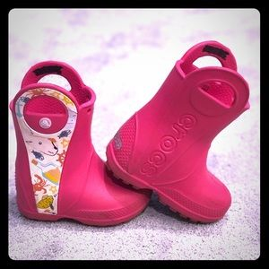 VGUC Pink Croc Rain Boots
